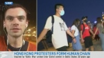 Protesters form human chain in China
