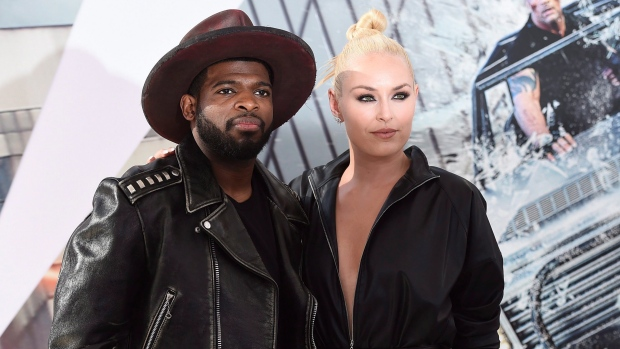"""Lindsey Vonn and P. K. Subban arrive at the Los Angeles premiere of """"Fast & Furious Presents: Hobbs & Shaw"""" in Los Angeles on Saturday, July 13, 2019. THE CANADIAN PRESS/AP-Invision, Jordan Strauss"""