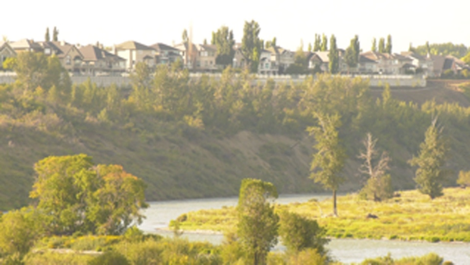 calgary, bow river, pathway, rainfall, slope, cons