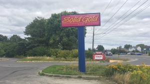 Sign for former Sudbury strip club Solid Gold is up for grabs. (Ian Campbell/CTV Northern Ontario)