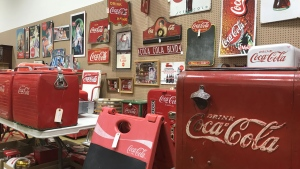 Just some of the over 200 Coca-Cola memorabilia lots up for auction in Calgary. It all belonged to one family housed on a rural property in central Alberta.