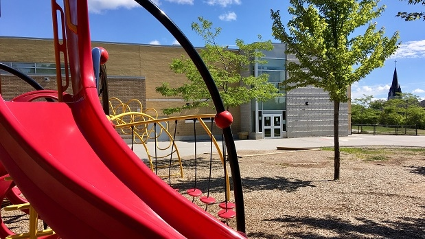 A school yard in Barrie is empty just one week before back to school on Aug. 23, 2019 (CTV News/KC Colby)