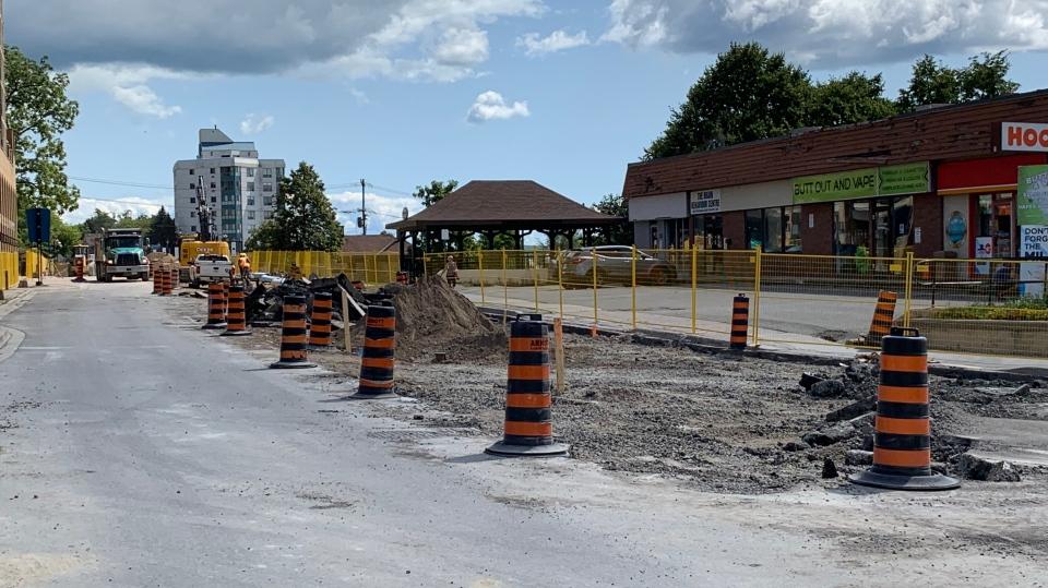 Major roadwork has begun on Dunlop Street at Mulcaster Street in Barrie. Fri., Aug. 23, 2019 (CTV News Barrie)