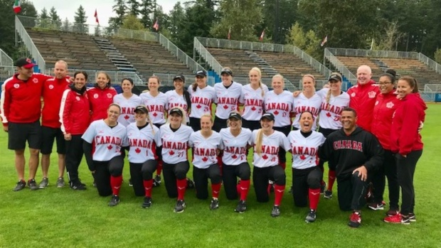 Canadian women's softball team playing for a spot in Tokyo Olympics