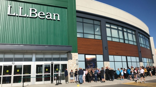 About 150 people lined up to be the first person inside the new L.L. Bean in Oakville. (Pat Foran/CTV News Toronto)
