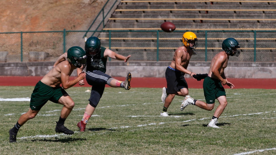 In this Thursday, Aug. 22, 2019, photo, the Paradise High School football team practices kickoffs in preparation for the teams first game of the season in Paradise, Calif. (AP Photo/Rich Pedroncelli)