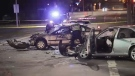 Witnesses at the scene say the crash happened just after midnight at the busy intersection of Douglas and Bay streets. (CTV Vancouver Island)