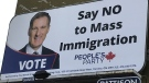 A billboard, posted to the side of a building in Calgary's Kensington neighbourhood, advertises part of the platform of Maxime Bernier, the leader of the People's Party of Canada.