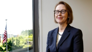 In this July 13, 2016 file photo, Oregon Attorney General Ellen Rosenblum poses for a photo at her office in Portland, Ore. She said in an amicus brief on Friday that if the U.S. Supreme Court finds nonunanimous juries unconstitutional, it could invalidate hundreds or even thousands of convictions in Oregon. (AP Photo/Don Ryan, File)