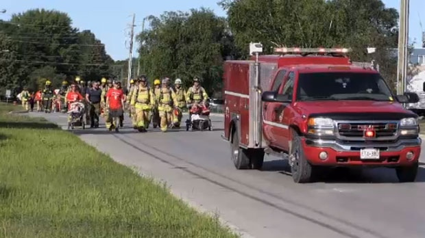 Twenty-two firefighters from Base Borden participated in a walk to help raise money for the Terry Fox Foundation. (CTV News Toronto)