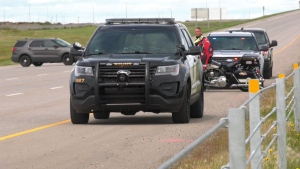 A woman was sent to hospital in life-threatening condition after she was hit by a semi tractor-trailer on Stoney Trail.