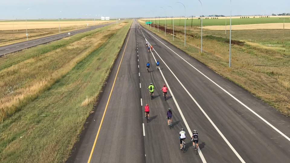 Bicyclists hit the open road on the Regina Bypass (Stefanie Davis / CTV Regina)
