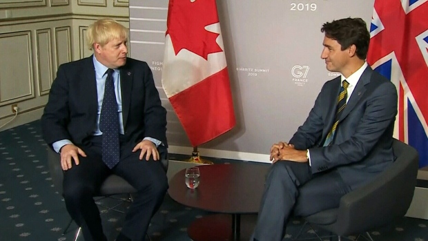 Prime Minister Justin Trudeau meets with U.K. Prime Minister Boris Johnson on Saturday, August 24, 2019. in their first face-to-face meeting since Johnson took office.