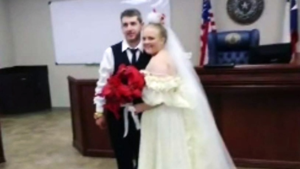 Harley Morgan and and Rhiannon Boudreaux were killed in a car crash only minutes after their marriage was made official. (KFDM-TV / CNN)