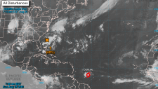 The U.S. National Hurricane Center released this image of Tropical Storm Dorian stating it could strengthen to a hurricane by Wednesday.