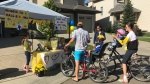People line up to buy lemonade at one of the 374 stands in Edmonton raising money for Stollery NICUs on Saturday, Aug. 25, 2019.