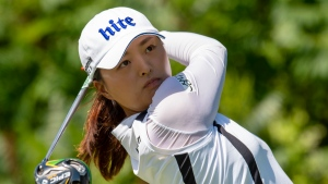 Jin Young Ko of South Korea watches her tee shot on the ninth hole during the final round of the CP Women's Open in Aurora, Ont., on Sunday August 25, 2019. THE CANADIAN PRESS/Frank Gunn