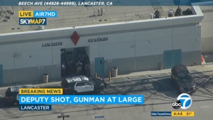 This Wednesday, Aug. 21, 2019 file image taken from video provided by KABC-TV shows the outside of a Los Angeles County sheriff's station in Lancaster, Calif. (KABC-TV via AP, File)