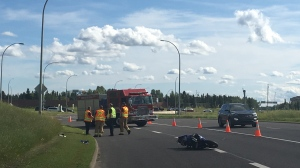 Officials closed two lanes of northbound 170 Street traffic on Sunday to investigate a crash involving a motorbike.