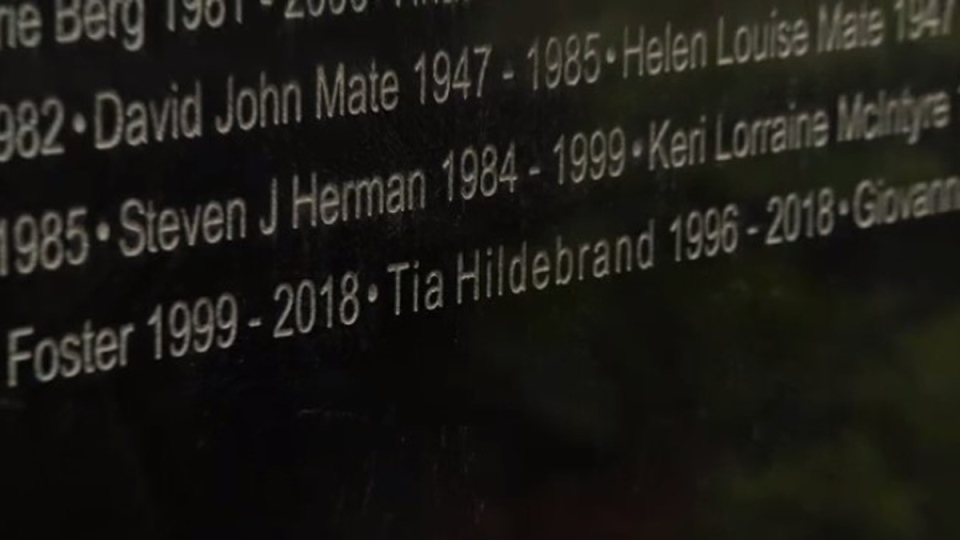 Tia Hildebrand was one of the five new names added to the monument Sunday.