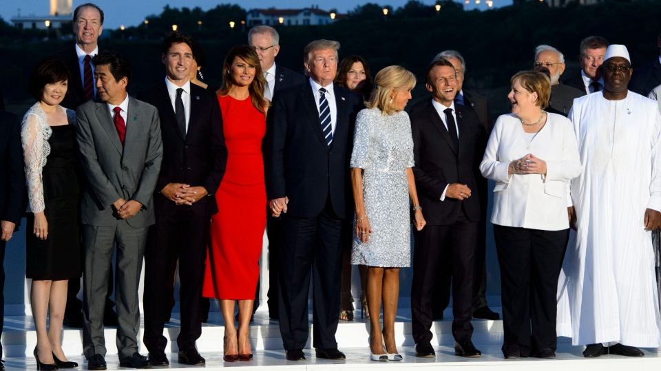 Prime Minister Justin Trudeau takes part in the family photo at the G7 Summit in Biarritz, France on Sunday, Aug 25, 2019. THE CANADIAN PRESS/Sean Kilpatrick