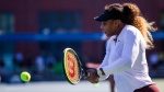 Serena Williams, of the United States, returns the ball as she practices at the U.S. Open tennis tournament Saturday, Aug. 24, 2019, in New York. (AP Photo/Eduardo Munoz Alvarez)