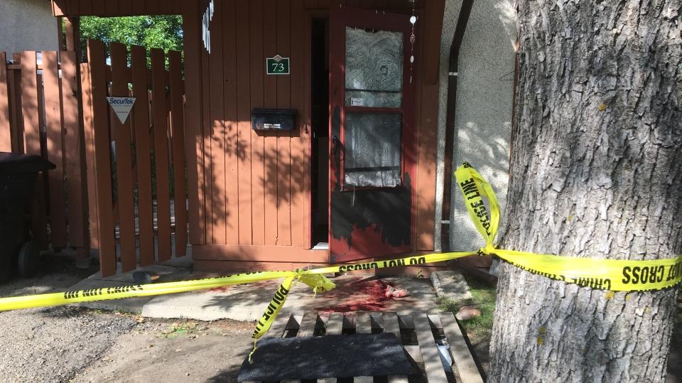 A crime scene in the 3800 block of Fairlight Drive on Aug. 26, 2019. (Colin Thomas/CTV Saskatoon)