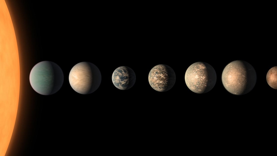 This artist's concept shows what the TRAPPIST-1 planetary system may look like, based on available data about the planets' diameters, masses and distances from the host star, as of February 2018. 3 of the 7 exoplanets are in the 'habitable zone', where liquid water is possible. (NASA/JPL-Caltech)