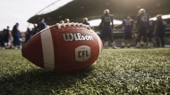 The CFL makes its return to Atlantic Canada Sunday for the first time since 2013 with a key matchup featuring one of the league's marquis rivalries. A CFL ball is photographed at the Winnipeg Blue Bomber stadium in Winnipeg, Thursday, May 24, 2018. (THE CANADIAN PRESS/John Woods)