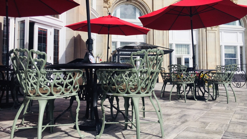 The Fairmont Hotel Macdonald patio in Edmonton. (Evan Klippenstein/CTV News Edmonton)
