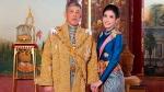 This undated photo posted Monday, Aug. 26, 2019, on the Thailand Royal Office website shows King Maha Vajiralongkorn, left, with Major General Sineenatra Wongvajirabhakdi, the former royal noble consort. . (Thailand Royal Office via AP)