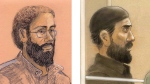 Artist sketches of Chiheb Esseghaier and Raed Jaser, are shown. (THE CANADIAN PRESS/Tammy Hoy, John Mantha)