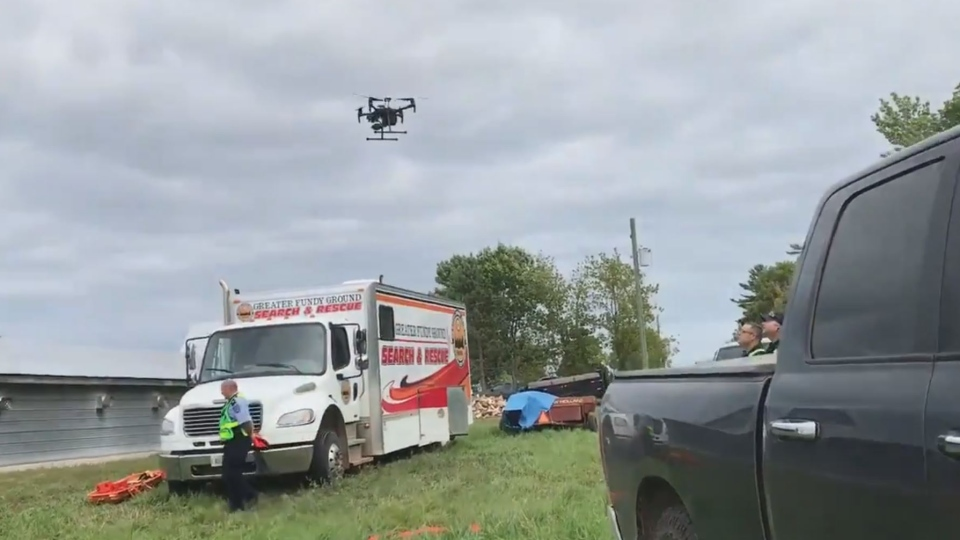 A drone is seen in Havelock, N.B., where it was assisting in the search for a missing woman on Aug. 27, 2019.