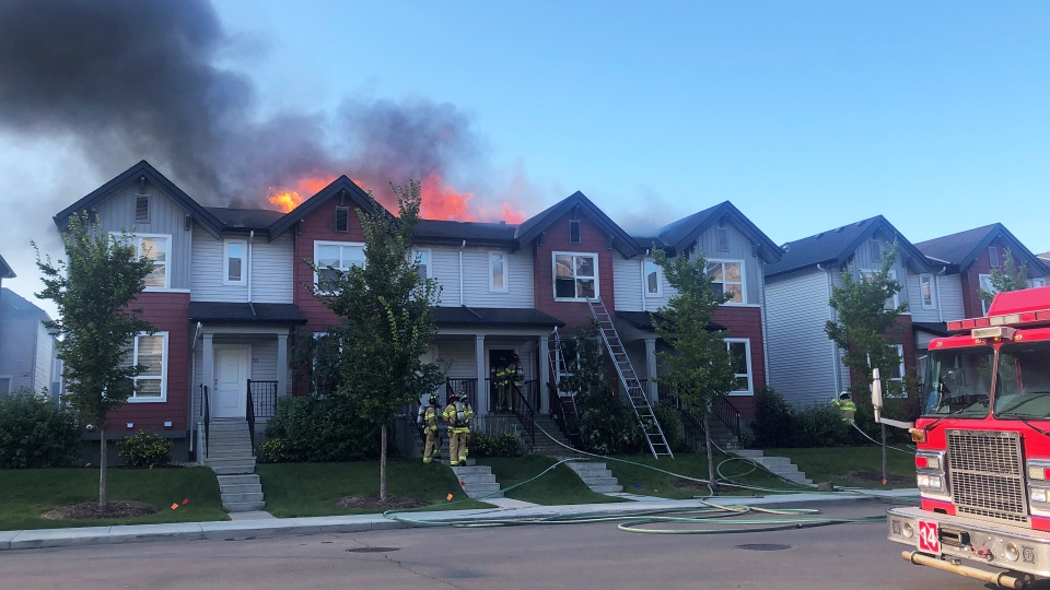 Fire broke out at a townhouse complex in north Edmonton on Aug. 28.