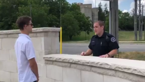 A still from one of the safety videos on public urination. (@gpsmedia / Twitter)