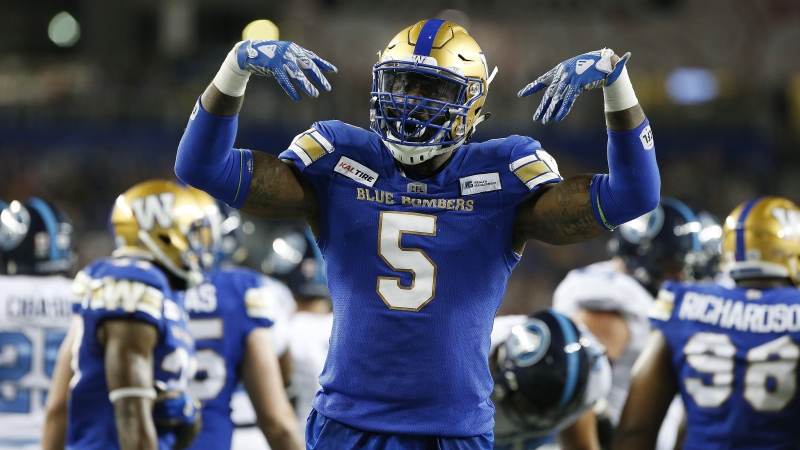 Winnipeg Blue Bombers' Willie Jefferson (5) celebrates stopping the Toronto Argonauts from touching down across the one yard line during second half CFL football action in Winnipeg, Friday, July 12, 2019. THE CANADIAN PRESS/John Woods