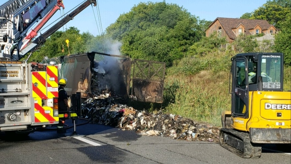 Cleanup after a fire on Hwy. 401