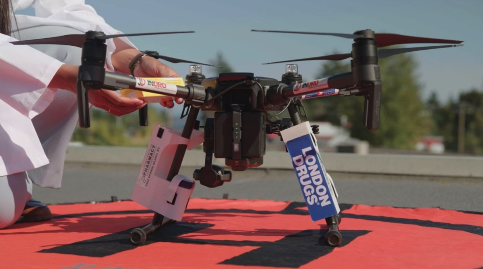 Drone delivering medicine from Vancouver Island to Salt Spring Island (Submitted)