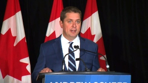 Conservative Leader Andrew Scheer speaks to reporters in Toronto, Thursday, Aug. 29, 2019.