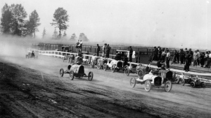An image from the City of Vancouver Archives believed to be from 1919 shows auto racing at the PNE.