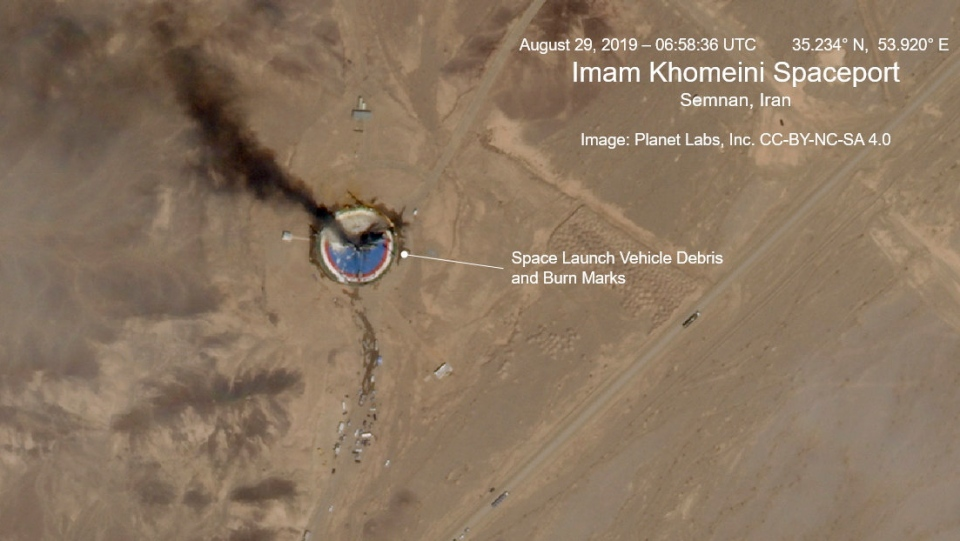 This satellite image from Planet Labs Inc., that has been annotated by experts at the James Martin Center for Nonproliferation Studies at Middlebury Institute of International Studies, shows a fire at a rocket launch pad at the Imam Khomeini Space Center in Iran's Semnan province, Thursday Aug. 29, 2019. (Planet Labs Inc, Middlebury Institute of International Studies via AP)