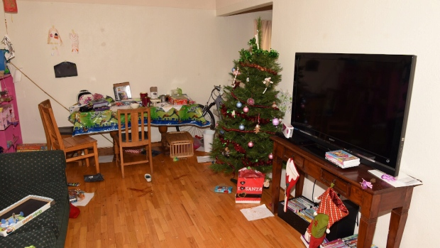 Andrew Berry's 1400 Beach Drive apartment after the Christmas Day 2017 murders of Chloe and Aubrey. (BC Supreme Court)