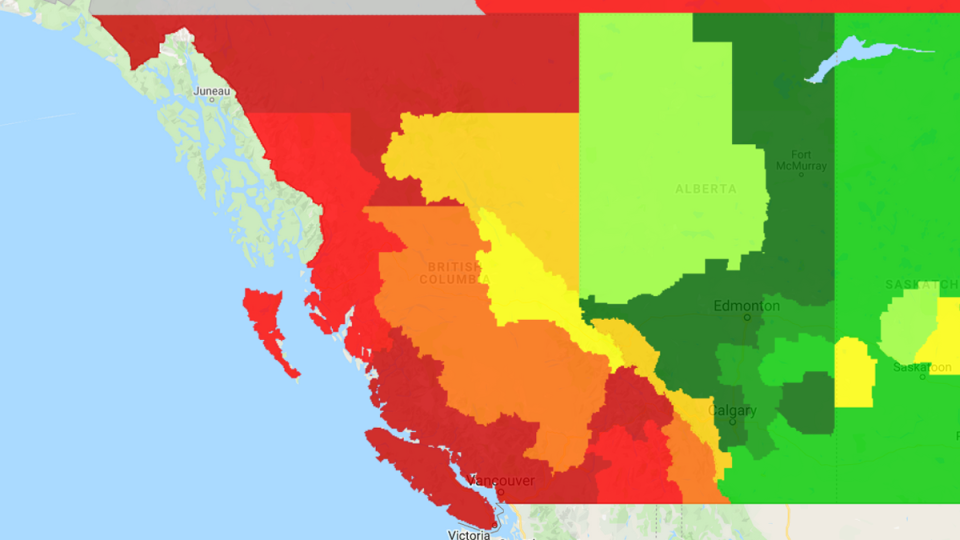 A heat map from GasBuddy.com shows prices in some parts of B.C. are higher than 134.8 cents per litre.