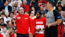Canada's head coach Nick Nurse protests a call for Nigeria during the second half of their exhibition game in Winnipeg, Friday, August 9, 2019 in preparation for the FIBA Basketball World Cup. (THE CANADIAN PRESS/John Woods)