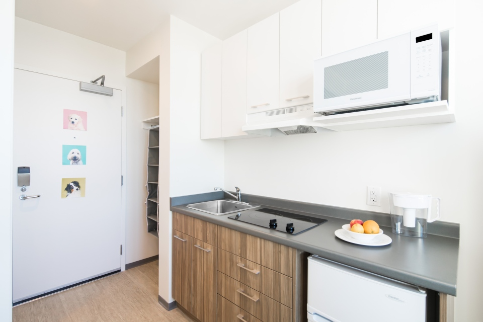 The kitchen of the nano suites is also the entryway. (UBC)
