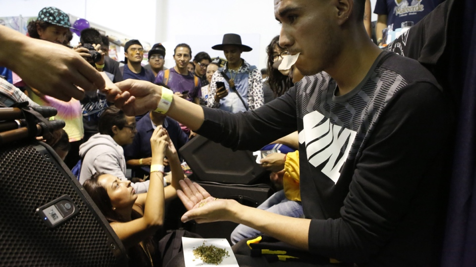 Roberto Alvarez, right, is handed a rolling paper during the best rolling contest, using oregano as a substitute for marijuana, during the 4th edition of the ExpoWeed cannabis fair in Mexico City, on Aug. 31, 2019. (Ginnette Riquelme / AP)