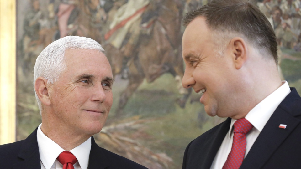U.S. Vice President Mike Pence, left, and Polish President Andrzej Duda smile during their meeting in Warsaw, Poland, on Sept. 2, 2019. (Petr David Josek / AP)