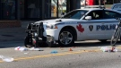 The aftermath of a collision involving a Windsor Police Service cruiser and a pedestrian on a motorized scooter in the intersection of Wyandotte St. E. and McDougall St. on Monday September 2, 2019. (Photo by AM800's Gord Bacon)
