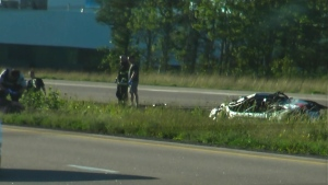 Three men died when a vehicle crashed near Moncton on Sept. 1, 2019. The men were all foreign students at the Saint John campus of the New Brunswick Community College. (Wade Perry)
