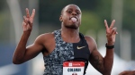 FILE - In this July 26, 2019, file photo, Christian Coleman celebrates as he wins the men's 100-meter dash final at the U.S. Championships athletics meet, in Des Moines, Iowa. (AP Photo/Charlie Neibergall, File)